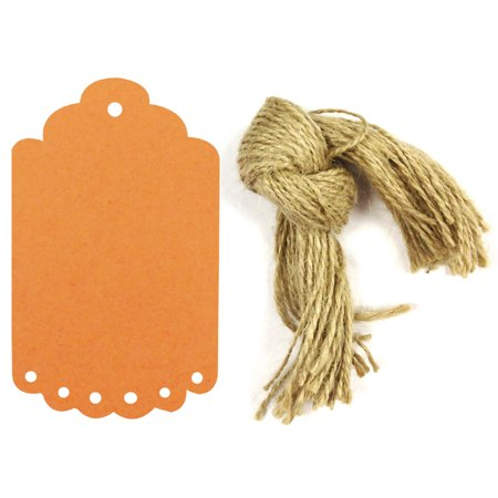 Wrapables® 10 Gift Tags/Kraft Hang Tags with Free Cut Strings for Gifts, Crafts & Price Tags, Large Scalloped Edge - Orange Tag