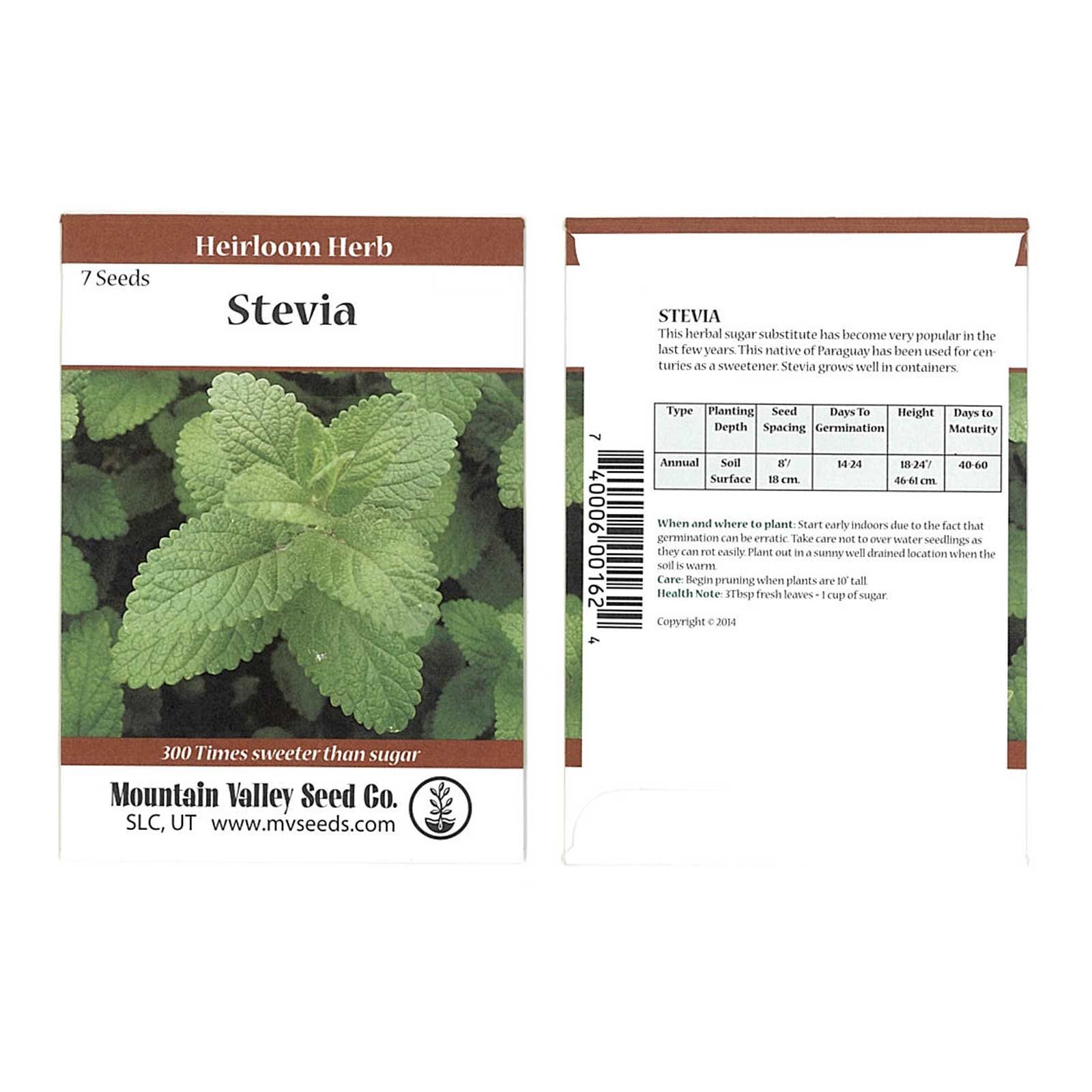 stevia sweet herb plant seeds - 7 seed packet - non-gmo, heirloom herbal  garden seeds