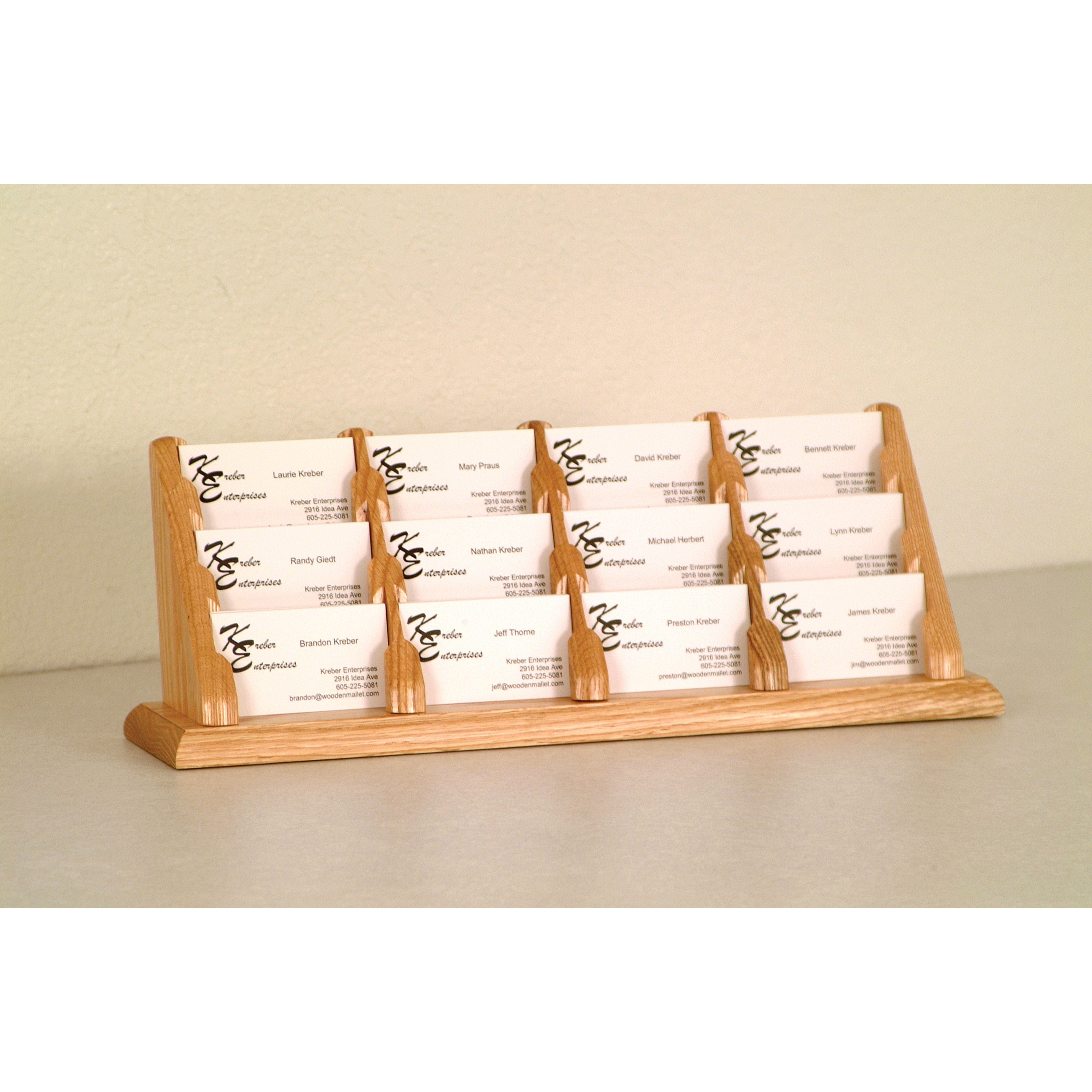 wooden mallet 12pocket counter top business card holder  walmart