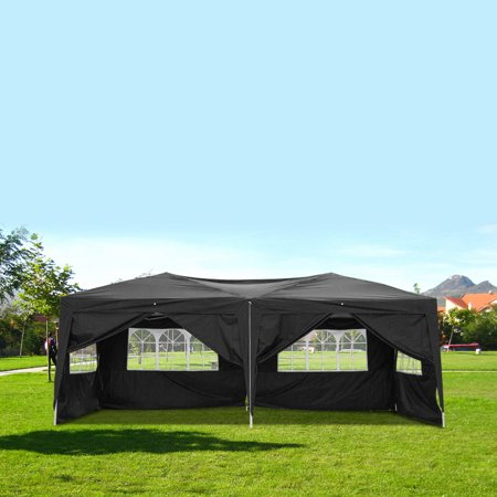 Canopy Party Tents for Outside, 10' x 20' Heavy Duty Pop Up Outdoor Wedding Canopy, Portable Sunshade Shelter with 6 Side Walls - UV Coated, Waterproof Instant Party Gazebo Tent, Black, I7636