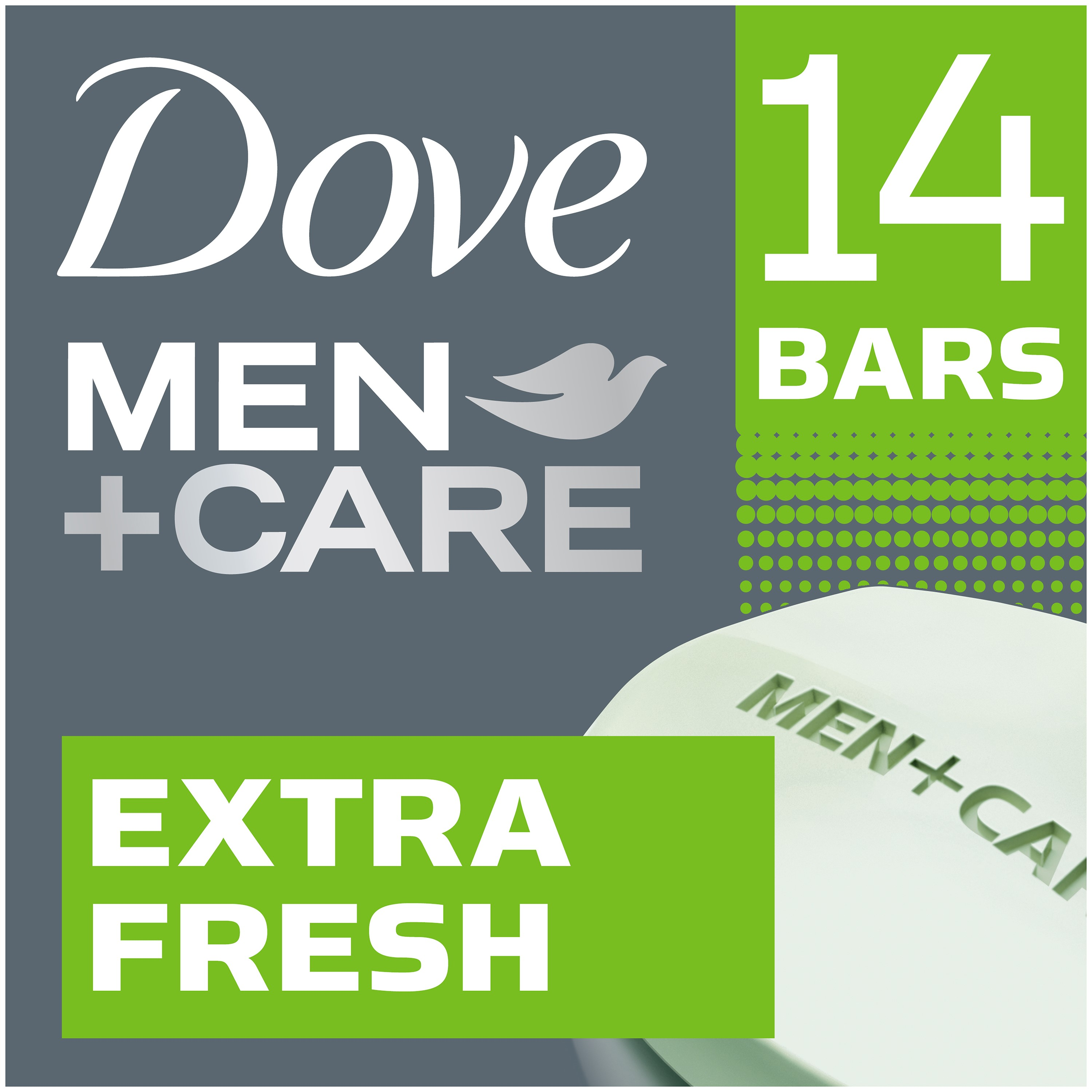 Dove Men+Care Body and Face Bar, Extra Fresh Scent, 4 Oz, 14 Ct