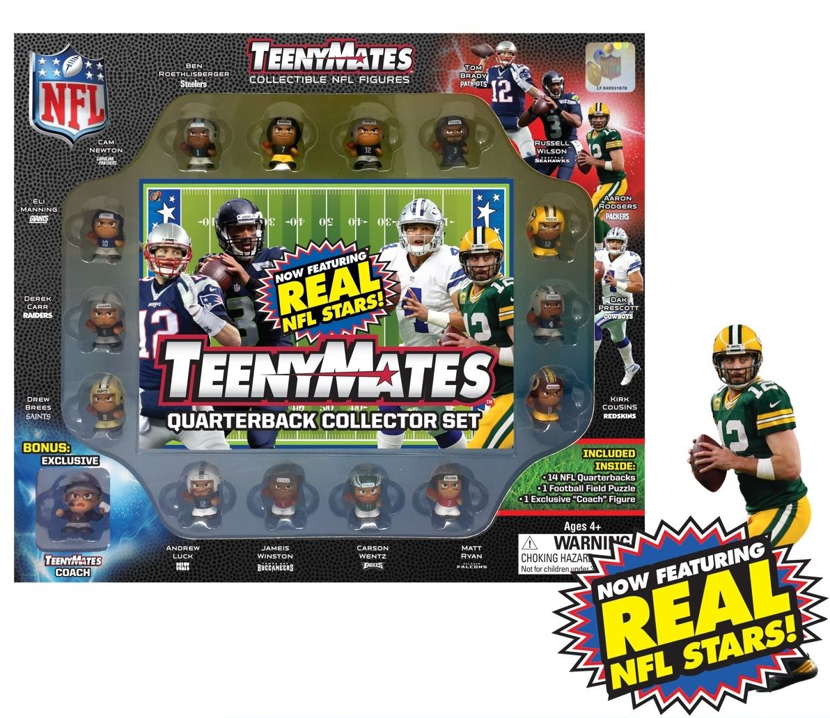 """The Party Animal Teenymates 1"""" NFL Collectible Figures Player Quarterback Gift Set New Version by The Party Animal"""