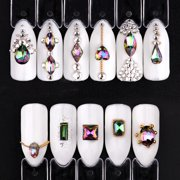 110Pcs Tips Stud 3D Crystal Nail Art Big Flame Rhinestones Shiny Phone Decor DIY