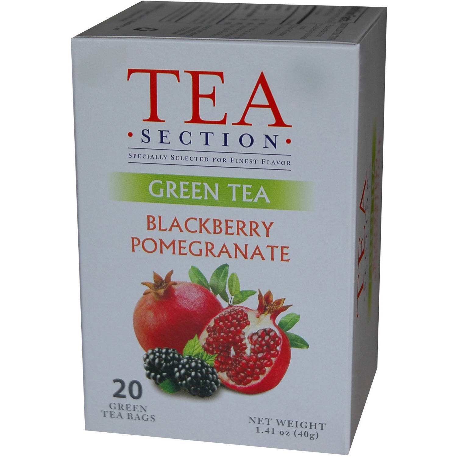 Tea Section Blackberry Pomegranate Green Tea Bags, 20 count
