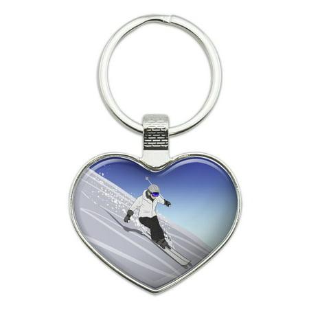 Skiing Down Mountain Skier Snow Skis Heart Love Metal Keychain Key Chain Ring