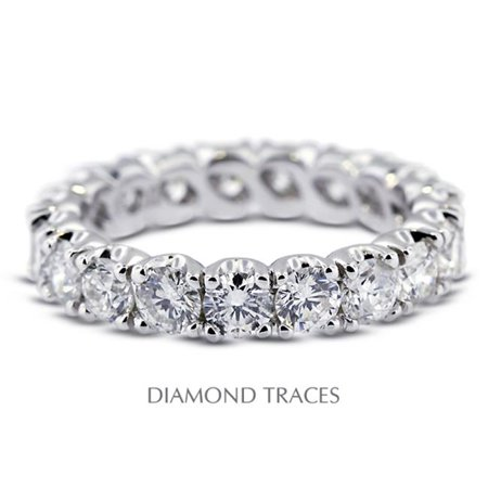 Diamond Traces UD-EWB306-6853 14K White Gold 4-Prong Setting, 4.91 Carat Total Natural Diamonds Classic Eternity Ring 14k White Gold Classic Prong