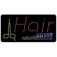 Affordable LED L7206 12 H x 24 L in. Hair Scissors-Comb LED Sign