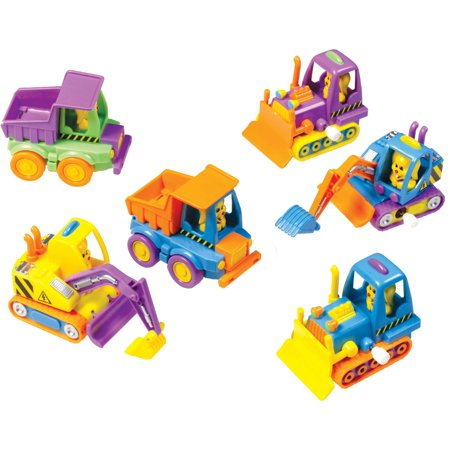 12 Assorted Wind Up Easter Bunny Construction Trucks Vehicles Toys