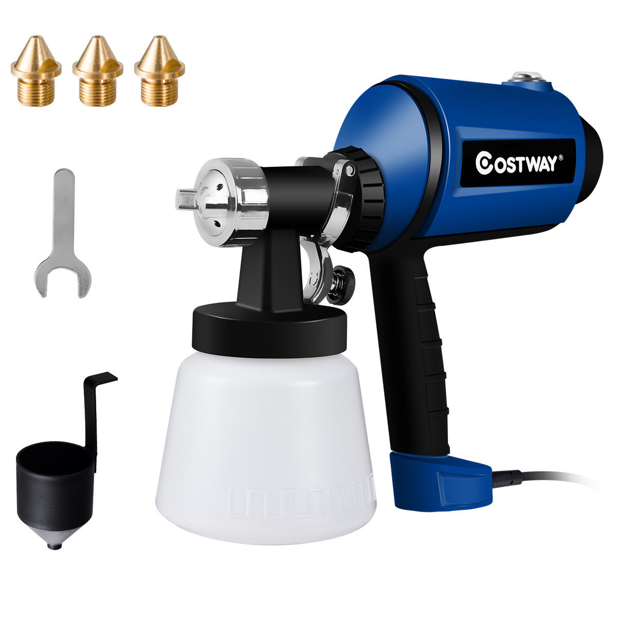 Costway 450W Electric HVLP Paint Sprayer Handheld 3-ways Spray Gun w/ 3 Copper Nozzles