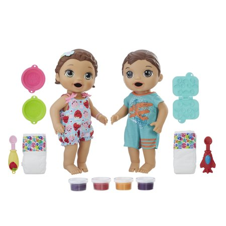 Baby Alive Snackin Twins Luke And Lily Brunette Hair