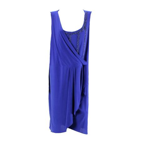 Onyx Nite Royal Blue Plus Size Sleeveless Beaded Cocktail Dress 22W - Plus Size Beaded Flapper Dress