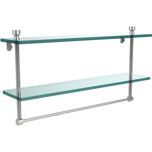 """Foxtrot Collection 22"""" 2-Tiered Glass Shelf with Integrated Towel Bar (Build to Order)"""