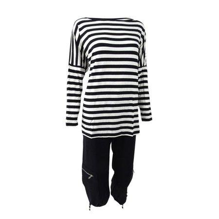 Sutton Studio Womens Over-sized Dolman Tunic & Crop Pant Set (S, Black/White)