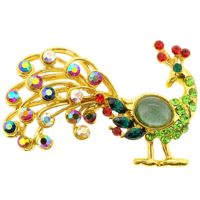 Fantasyard Mutlicolor Crystal Peacock Pin Brooch by Overstock