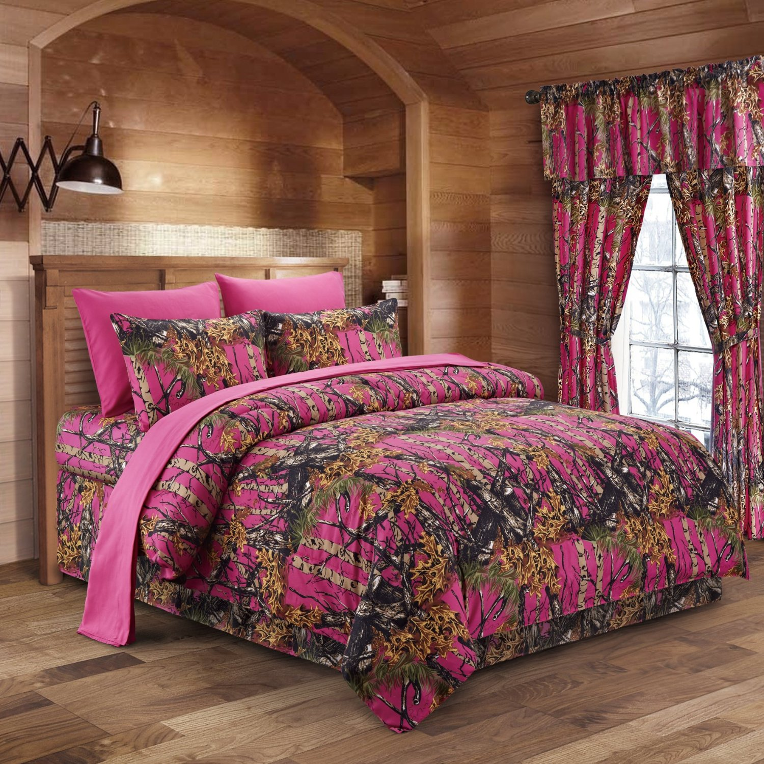 The Woods Hot Pink Camouflage Full 8pc Premium Luxury Comforter, Sheet, Pillowcases, and Bed Skirt Set by Regal Comfort Camo Bedding Set For Hunters Cabin or Rustic Lodge Teens Boys and Girls