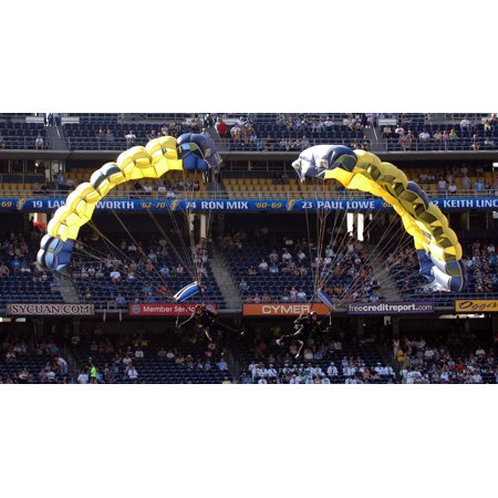 Laminated Poster Navy Parachute Team The Leap Frogs Perform At A Pre Game Show During Monday Night Football At Qual Poster Print 24 X 36