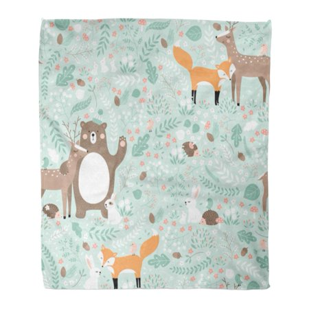 ASHLEIGH Throw Blanket Warm Cozy Print Flannel Brown Pattern Forest Bear Deer Fox Rabbit Bird Hedgehog Green Cute Comfortable Soft for Bed Sofa and Couch 50x60 Inches