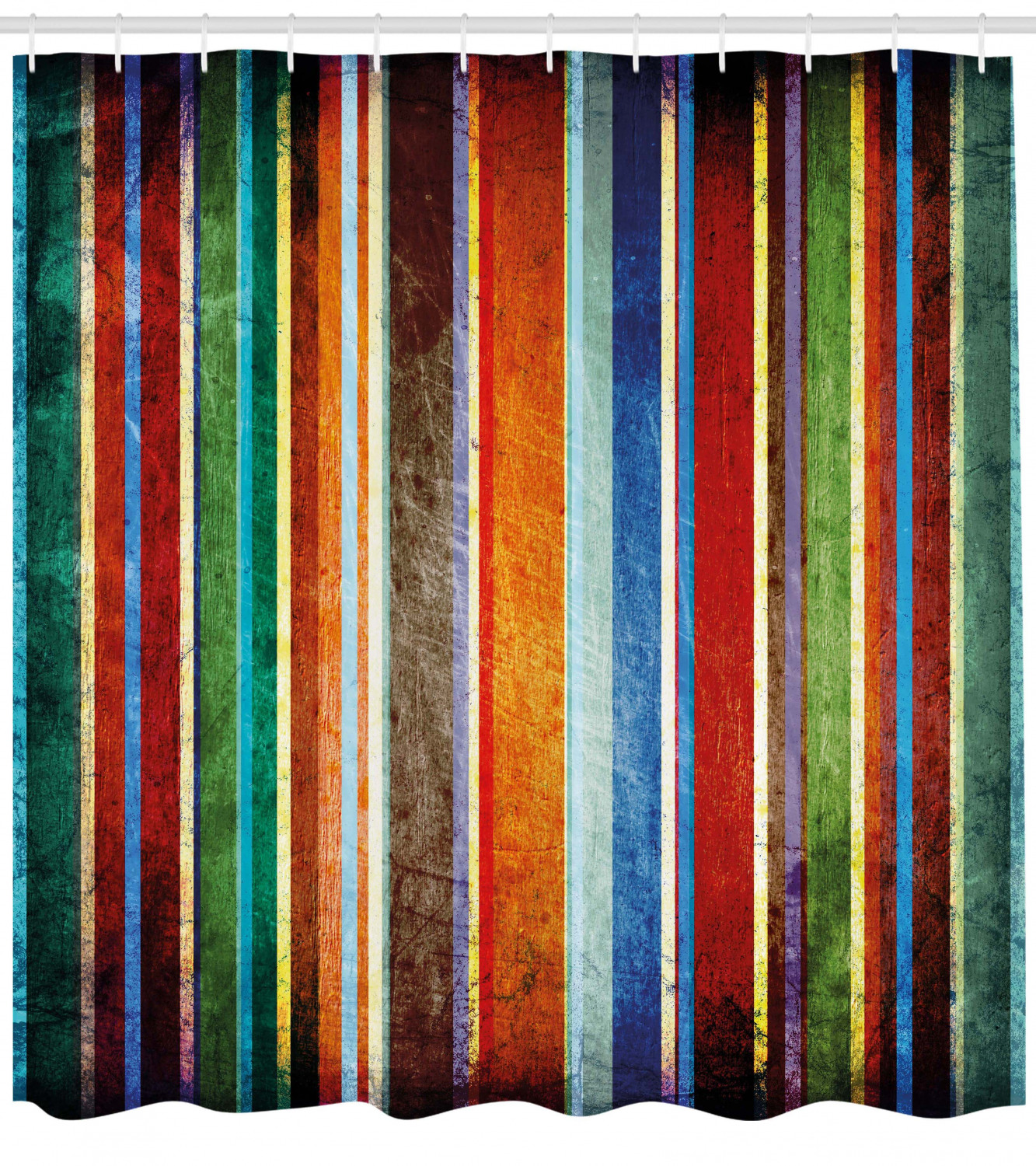 Stripes Shower Curtain Vertical Lined Colorful Retro Bands With Damage Effects Old Fashion Weathered Display Fabric Bathroom Set With Hooks 69w X