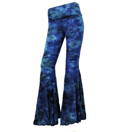 Sugar Rock Women Tie Dye Palazzo Hippie Pants Fold-Over Waist Bell Bottom Leg in Navy Green](Womens Bell Bottoms)
