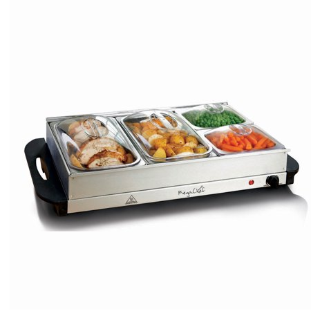 MegaChef Buffet Server & Food Warmer With 4 Removable Sectional Trays , Heated Warming Tray and Removable Tray (3 Section Divided Server)