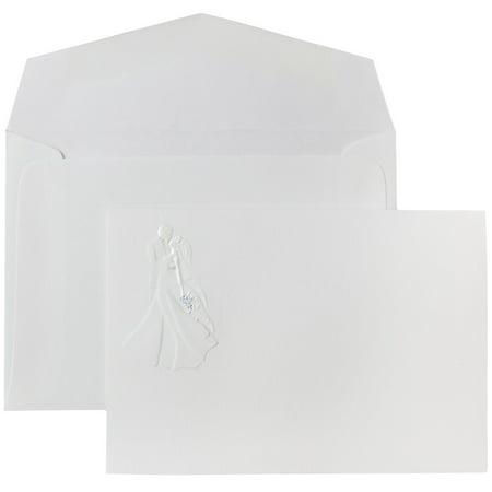 JAM Paper Wedding Invitation Set, Small, 3 3/8 x 4 3/4, White Bride & Groom Cards with White Envelopes, 100/Pack