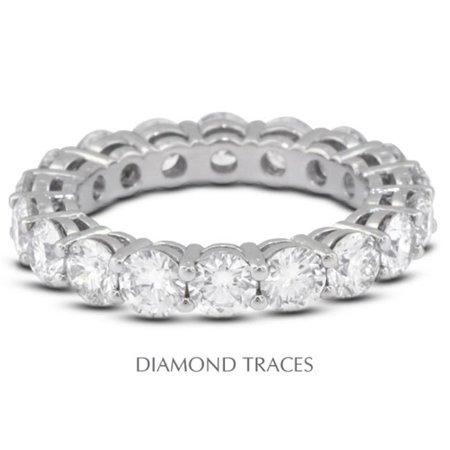 Basket Setting Ring (UD-EWB446-0955 14K White Gold 4-Prong Setting, 4.81 Carat Total Natural Diamonds Basket Eternity)
