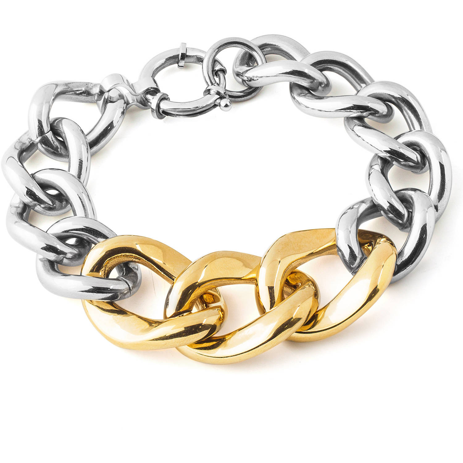 Women's Two-Tone Stainless Steel Curb Link Chain Bracelet