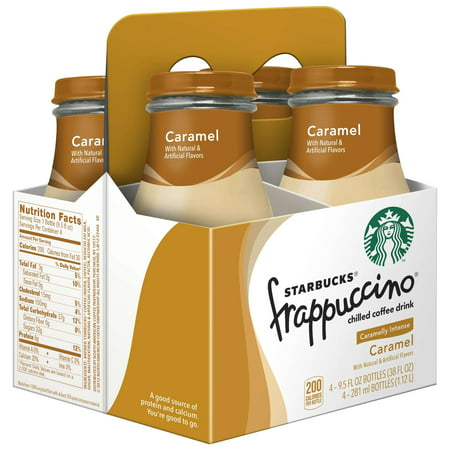 Starbucks Frappuccino Coffee Drink, Caramel, 9.5 oz Glass Bottles, 4 Count