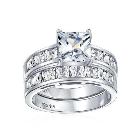 2CT Round Solitaire Brilliant Cut Square Side AAA CZ Pave Band Engagement Wedding Ring Set For Women Sterling Silver