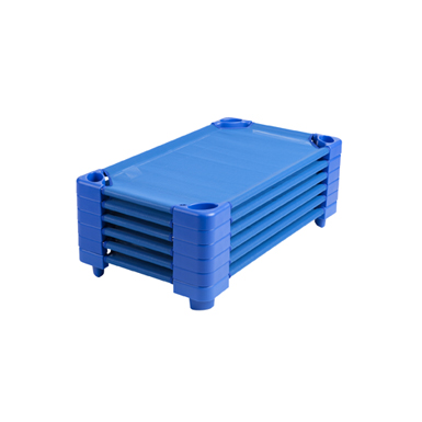 Click here to buy Stackable Kiddie Cot Standard with SHeet Ready-to-Assemble Blue, 6-PK by ECR4Kids.