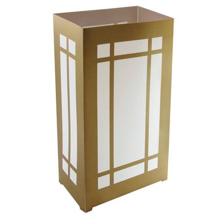 Lumabase Plastic Luminaria Lantern, Gold Lantern, Set of 10
