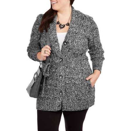 Faded Glory Women's Plus-Size Shawl Collar Cable Sweater Coat with Belt