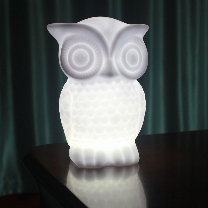 1W LED Night Light, Baby Owl Shape White Warm White Light PVC Table Lamp, Indoor Decorative Nightlight for Kids Room... by