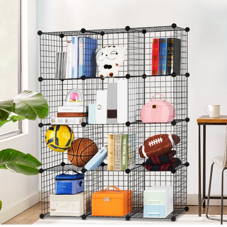 - LANGRIA 12-Cube DIY Wire Grid Bookcase, Multi Use Modular Storage Shelving Rack, Open Organizer Cabinet for Books, Toys, Clothes, Tools, Max Capacity 44 lbs per Cube, Black