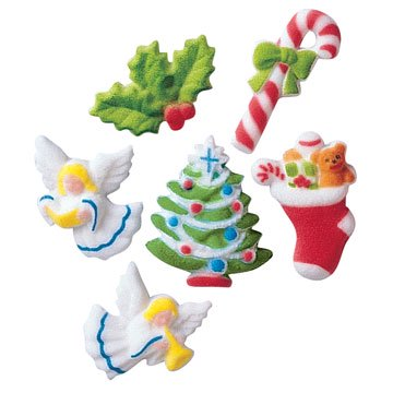 - Christmas Deluxe Sugar Decorations Toppers Party Favors Cookie Cupcake Cake 12 Count