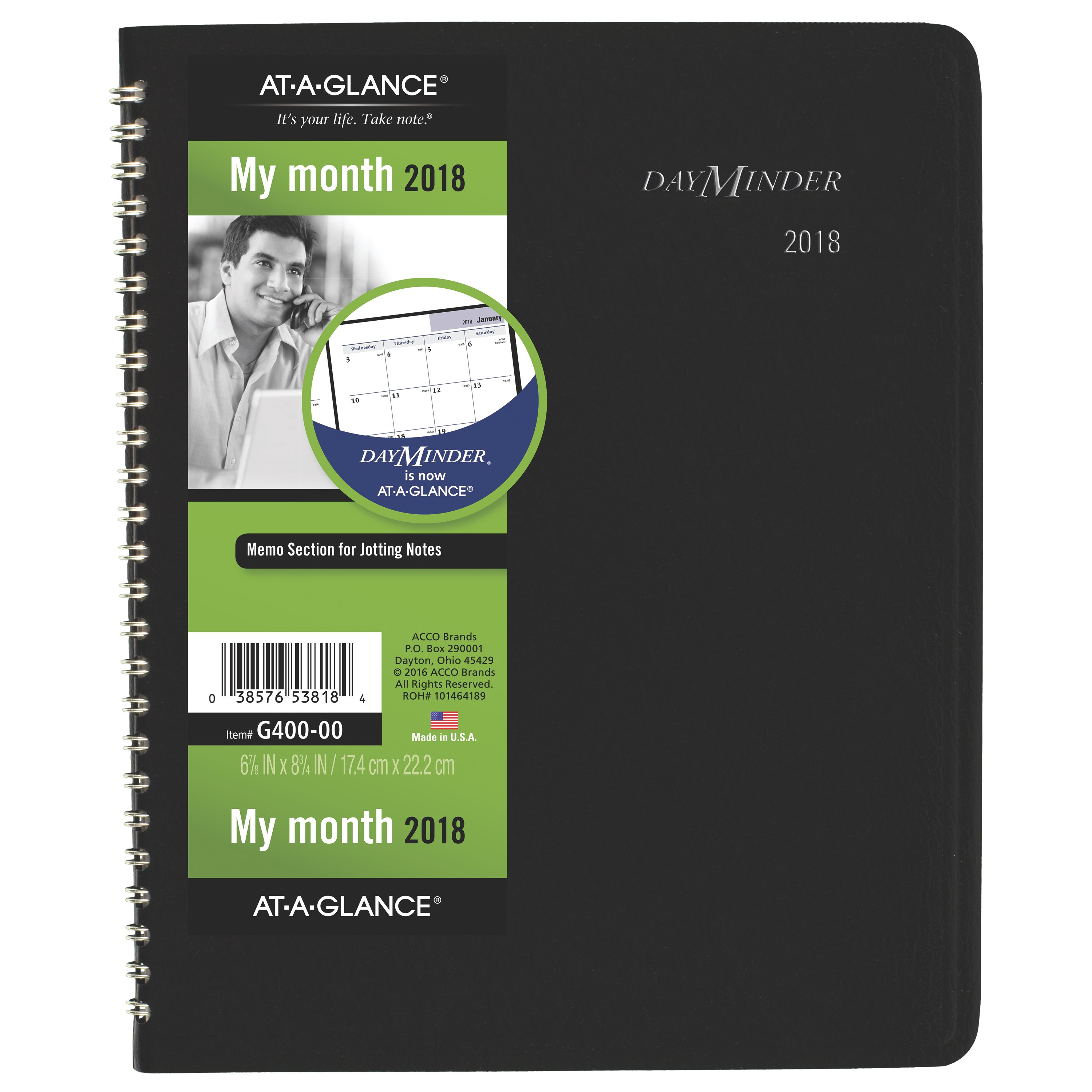 """2018 AT-A-GLANCE DayMinder Monthly Planner, 12 Months, January Start, 6 7 8"""" x 8 3 4\ by ACCO BRANDS"""