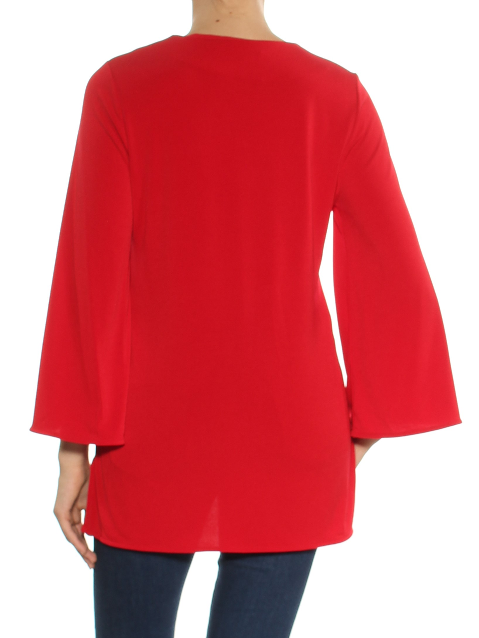 c53ce18114 Ralph Lauren Womens Red Bell Sleeve Keyhole Tunic Top Size: M