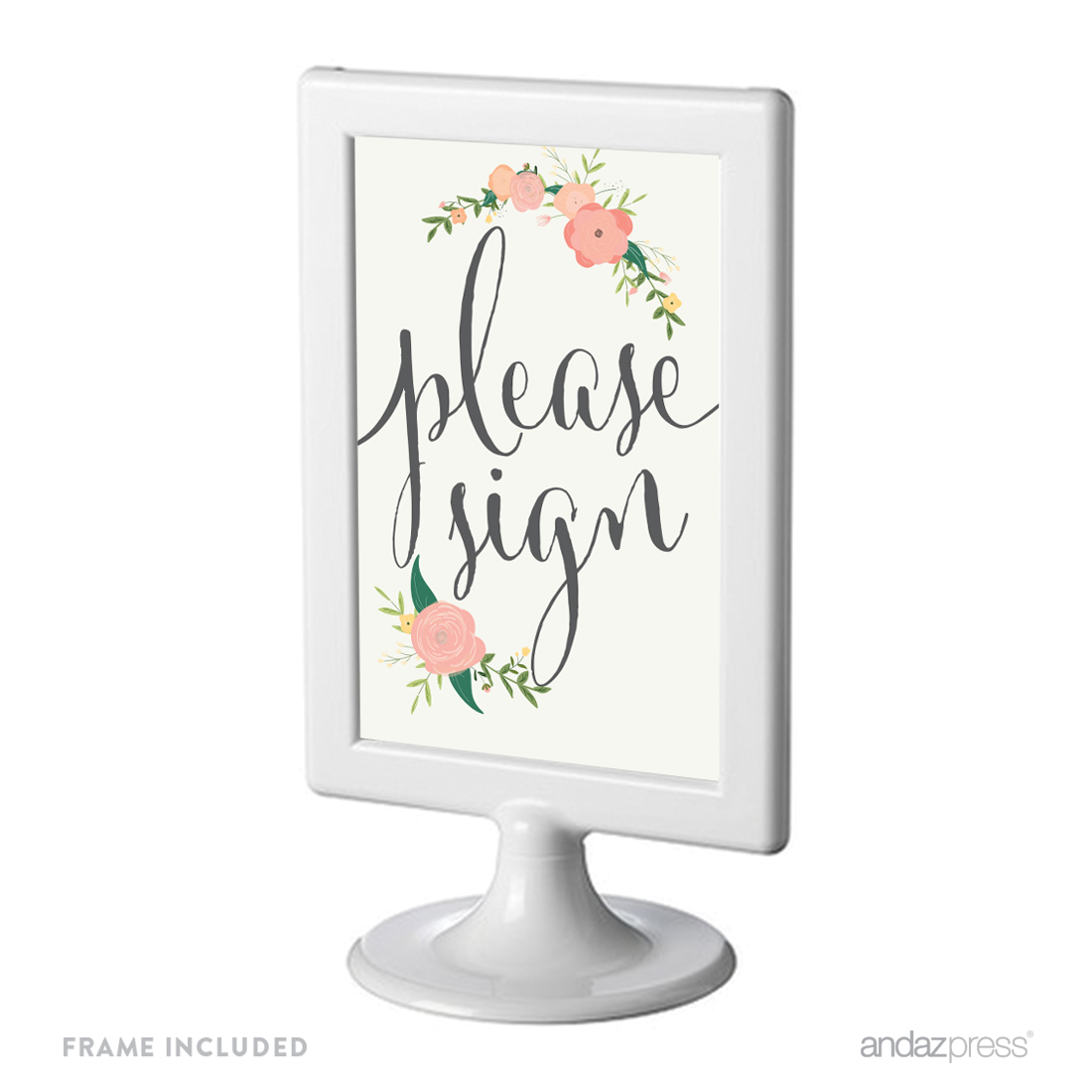 Please Sign Framed Floral Roses Wedding Party Signs