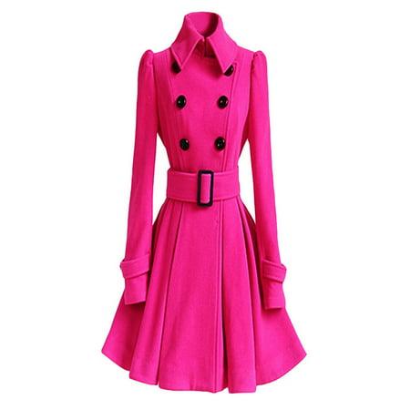 Winter Warm Women Woolen Coat Trench Parka Jacket Belt Overcoat Outwear