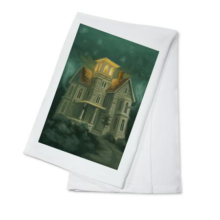 Haunted House - Halloween Oil Painting - Lantern Press Artwork (100% Cotton Kitchen Towel)