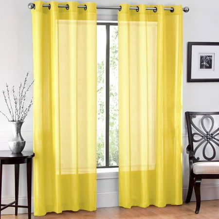 - Ruthy's Textile Window Sheet Solid Sheer Grommet Curtain Panels (Set of 2)
