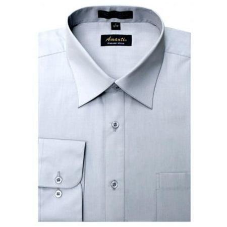 Amanti CL1010-16x32-33 Amanti Mens Wrinkle Free Silver Dress Shirt - Silver-16 x 32-33