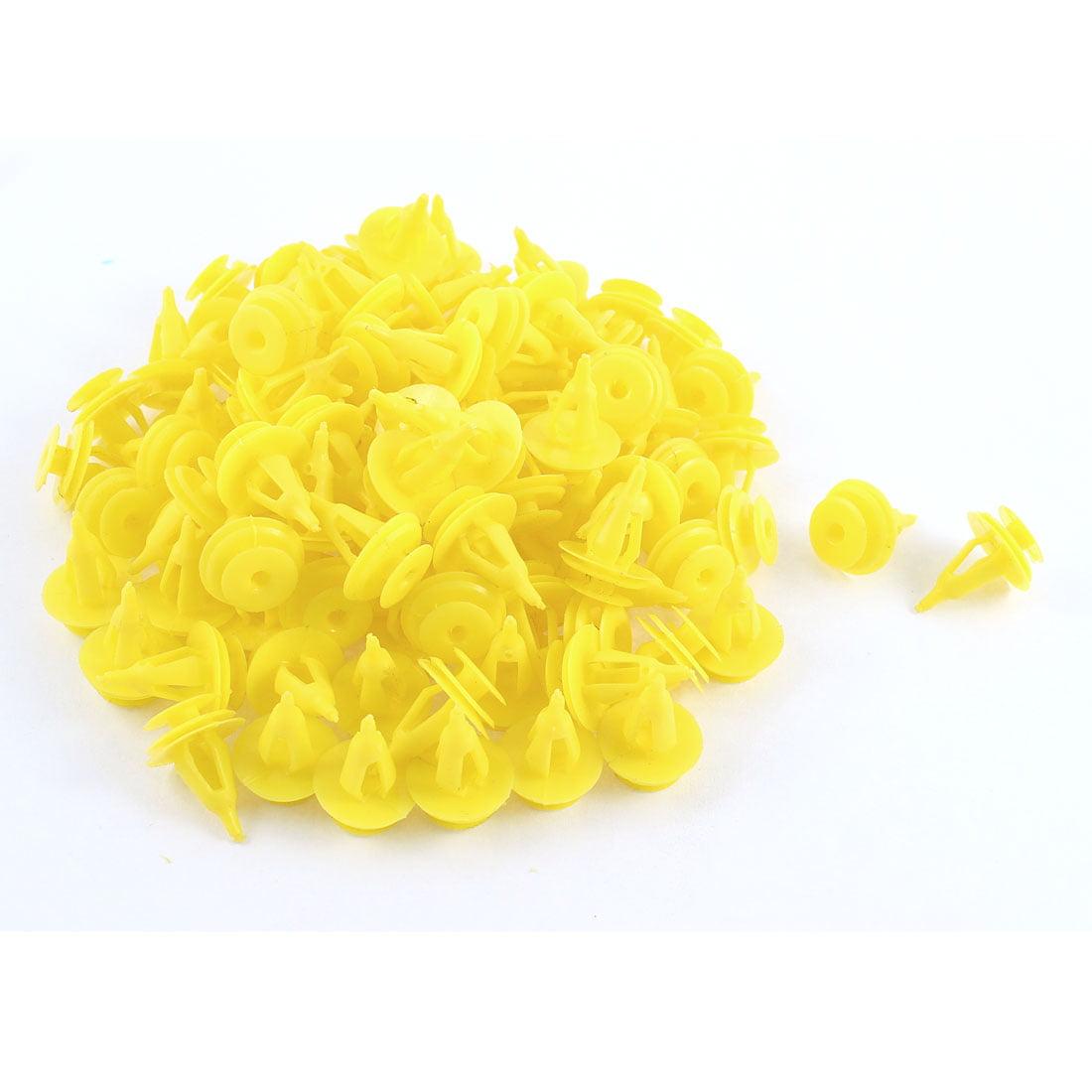 100 Pcs Yellow Plastic Rivet Trim Fastener Retainer Clips 9mm x 17mm x 18mm