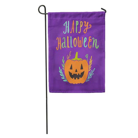 SIDONKU Orange Abstract Happy Halloween Holiday Cartoon Beautiful Blank Botanical Celebration Garden Flag Decorative Flag House Banner 12x18 inch (Botanical Gardens Brooklyn Halloween)