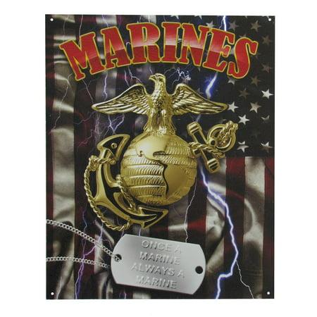 Military USMC US Marines Corp Tin Metal Sign w/ Dog Tag - Once a Marine Always a Marine Corps Glass