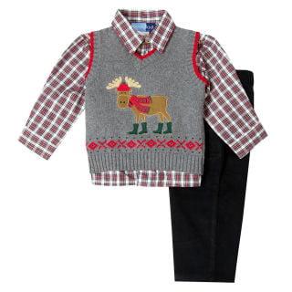 102c87b6ab0 Good Lad Infant BoyS Three Piece Grey Sweater Vest Set with Moose Applique