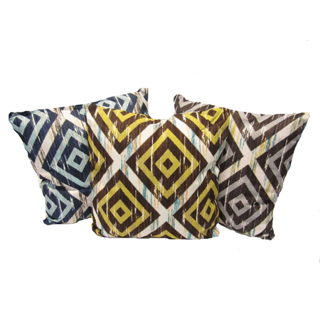 "Diamonds Oversized Decorative Throw Pillow Linen Cushion 20""X20Inch REVERSIBLE - Yellow"