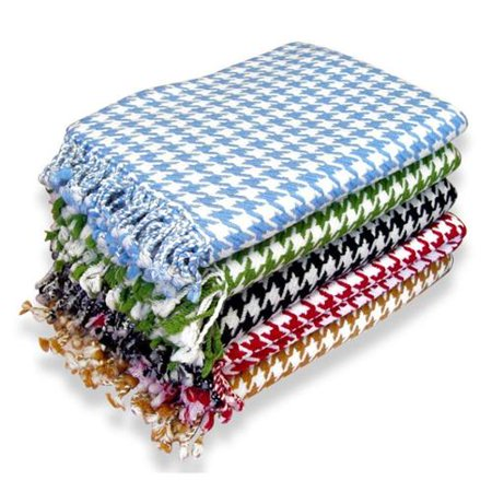 Peach Couture  100-percent Cashmere Houndstooth Throw Blanket