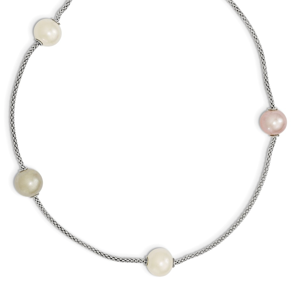 Sterling Silver 17in Freshwater Cultured Pearl Multi-str& w/ 2in ext. Necklace