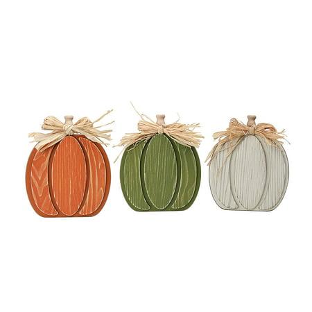 Way To Celebrate Harvest Wood Pumpkins Décor, Set of 3